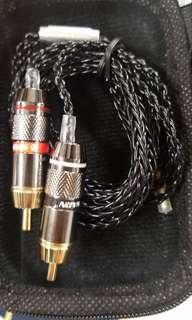7N單晶銅鍍銀黑色 耳機線 升級線 3.5mm 4.4mm to 2x RCA