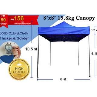 8x8 800D Thicken Canopy Tent High Quality Sun Shade Pasar Malam Kanopi Khemah Exhibition Car Park Shade Pameran Berkelah Picnic Khemah Kanopi Outdoor Tempat Letak Kereta Penjaja Berniaga Makanan Bazaar Sun Protection Sports Sukan