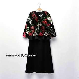 INC Company Black Floral 2pcs Baju Kurung