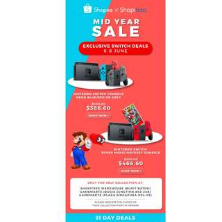 (6 - 8 June Mid Year SALE) Nintendo Switch Console with 1 Year Warranty by Nintendo Distributor