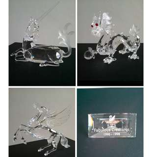 110 Swarovski Silver Crystal 'Fabulous Creatures' Trilogy: 1996-1998 Annual Editions