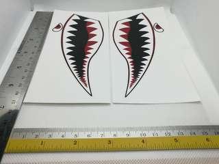 Shark face sticker