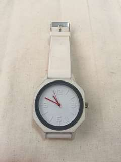 White octagon shaped watch
