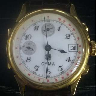 RARE Cyma chronograph磁面 {open face and back}