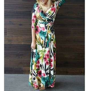 Plus Size Floral Overlap Maxi Dress
