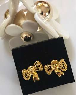 24K / 999.9 Gold Ribbon Earrings