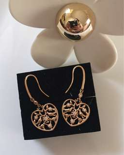18K Rose Gold Heart Diamonds Earrings