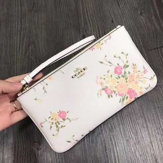 Coach Large Wristlet - white floral