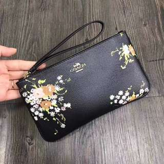 Coach Large Wristlet - black floral