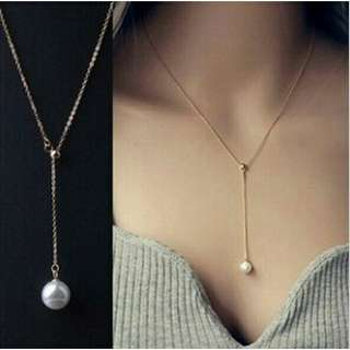 Silver Choker/Necklace with Pearl Pendant