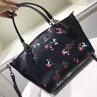 Coach Small Kelsey Satchel with cross stitch floral print - black