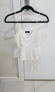 Dotti white lace top size small