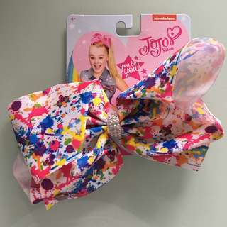 Jojo Siwa Bow Large Rainbow Splatter with Rhinestone