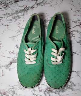 Keds Green Embroidered Leaves / NAME YOUR PRICE