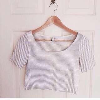 H&M white stripes crop top