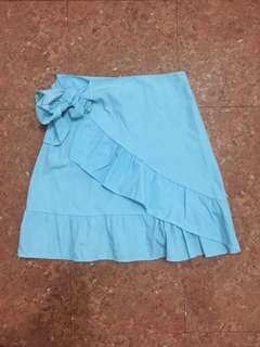 Blue ruffled skirt