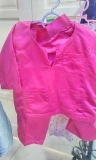 Baju Melayu pink 6-12m