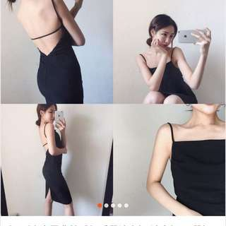 🚚 性感露背肩帶黑色長洋連身裙