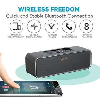 Musky DY22L Portable Bluetooth Wireless Speaker Clock FM Radio MicroSD Card