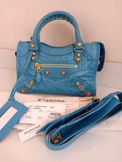 Preloved Authentic Balenciaga Mini City Blue GHW 2016