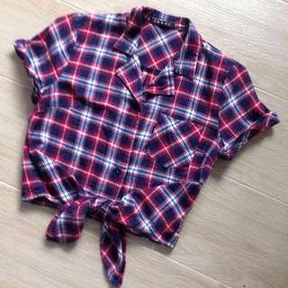 藍紅格短身打結(蝴蝶結)恤衫