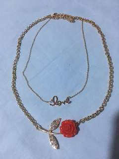 (brandnew) red rose necklace
