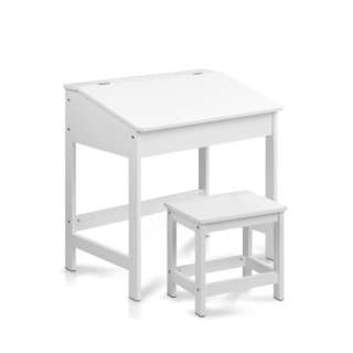 Kids Lift Top Desk and Stool White Smooth Inclined Desk Top