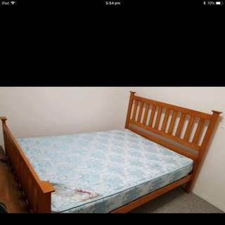 Solid Wooden Double Bed + Side Table + Freedom Mattress
