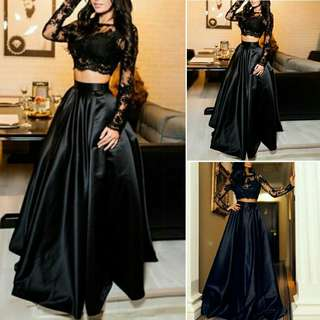 Black Long Gown (Long Sleeves See Through Lace Crop Top & Long Shiny Skirt)
