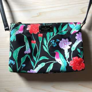 Kate Spade Madelyn Hummingbird Black Nylon Cross Body Bag