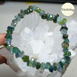 綠&藍碧茜碎石手鏈(切面)