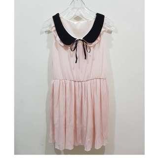 🚚 雙層娃娃領 蝴蝶結綁帶 縮腰粉無袖洋裝