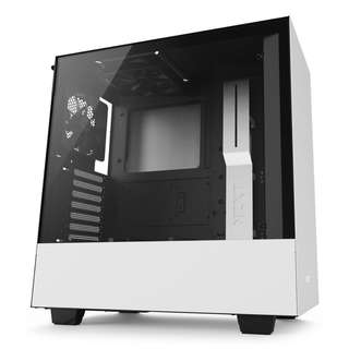 NZXT H500 TG ATX Compact Mid Tower Case with Tempered Glass Black White Black Red
