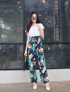 White top floral Pants terno