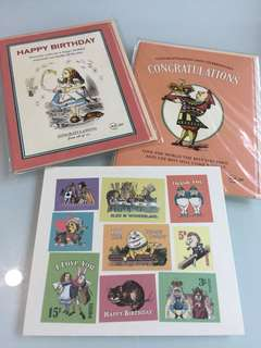 Alice in the wonderland happy birthday card and congratulations card(with stickers )