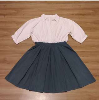 VINTAGE DRESS ( white and green blouse dress)