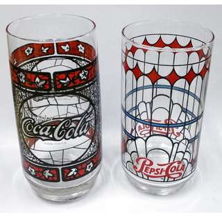 Lot of 2 Collectible Vintage Coca-Cola & Pepsi-Cola Drinking Glasses Tumblers *Rare!