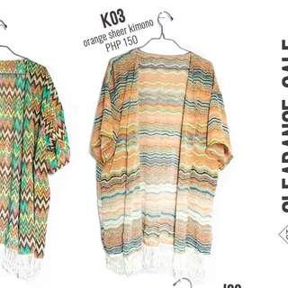 Orange printed kimono cover-up