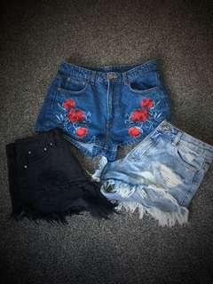 X3 denim shorts