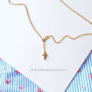 Stainless Steel Cross Infinity Necklace (Gold Tone)