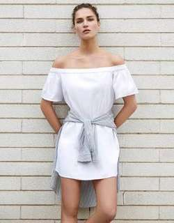 New Authentic Bershka White Off Shoulder Dress Fully Lined S