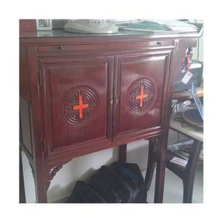 ROSEWOOD MULTI PURPOSE CABINET OR ALTER TABLE. SURFACE CAN BE CHANGED