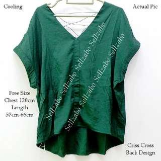 Free Size Green Colour Cooling Back Criss Cross Blouse Shirt Top Ladies Girls Women Female Lady Sellzabo #S198