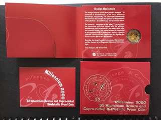 Millennium 2000 $5 Aluminium Bronze and Cupro-nickel Bi-metallic Proof Coin