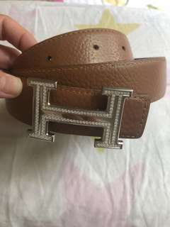 HermesK18白金钻石S号皮带