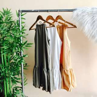 Gray Pleated Hem Dress