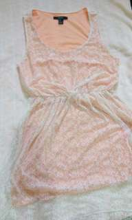 Forever 21 peach off white mullet dress lace korean style