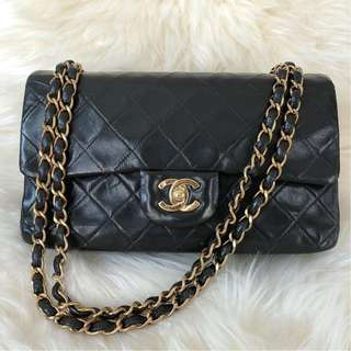 Chanel Vintage Small Double Flap Black Lambskin with GHW