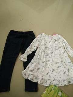 Setelan baju baru dn legging jeans second