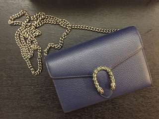 100% new 全新 Gucci Dionysus leather mini chain bag navy 今季新色 chain wallet